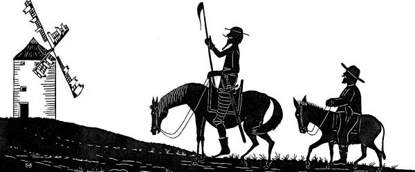Escena de una de las aventuras de Don Quijote de la Mancha