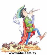 Dibujo del paraguayo Juan Moreno que recrea al afamado flautista.